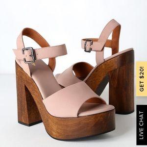 Lolita Leather Pink Nubuck Wood Platform Heels